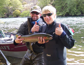 A young client with his first Deschutes River steelhead