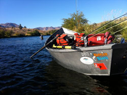 A drift boat on the Lower Deschutes River