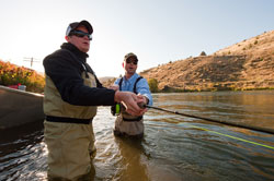 A client getting a spey casting lesson on the Deschutes River